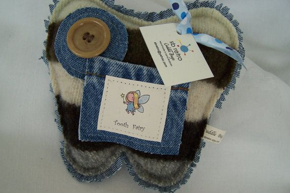 Tooth Fairy Pillow made from a recycled sweater and by sbretro, $25.00