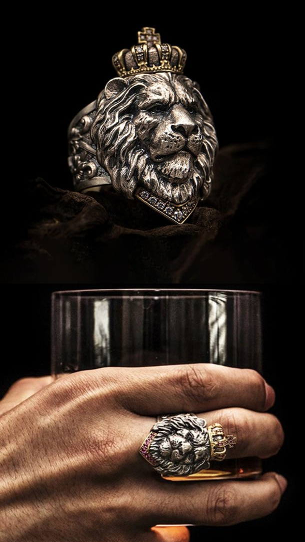 Lion Head Ring With Iced Out Crown