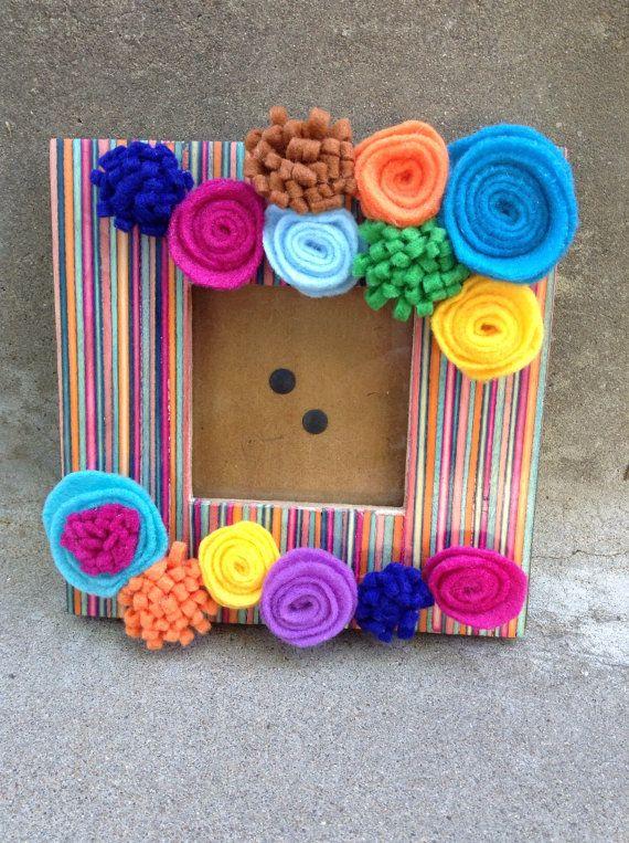 Colorful photo frame with handmade felt by haskellhoneydos on Etsy