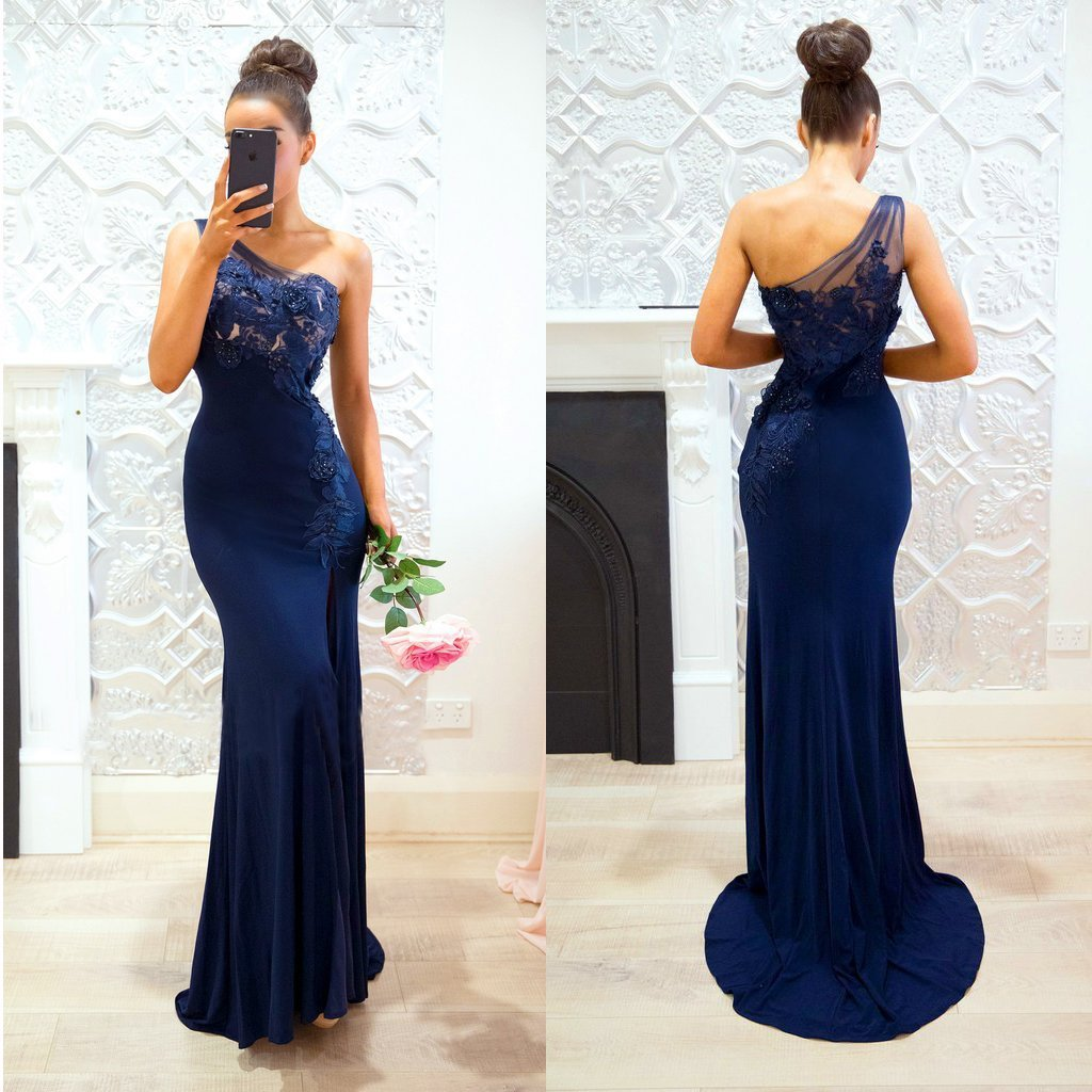 Dark navy long prom dresses mermaid products