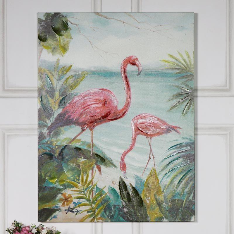 Large Bright Pink Flamingo Wall Canvas Oil Painting Homedecor Wallart Flamingo Animals Trend Decoride Bright Paintings Canvas Print Wall Wall Art Prints