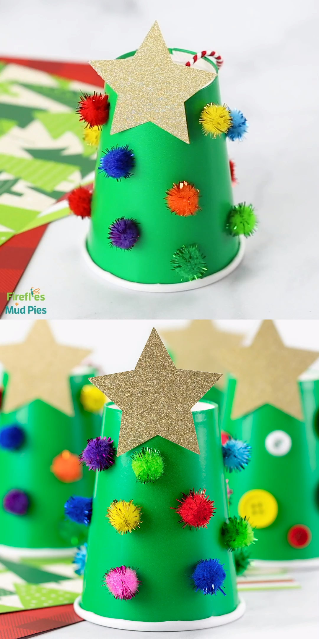 Are you looking for an inexpensive, mess-free, and super easy Christmas craft for kids? We've got you covered! This fun little Paper Cup Christmas Tree is simple enough for toddlers, preschoolers, kindergartners, and older kids like tweens. Minimal, inexpensive supplies make it the perfect handmade Christmas ornament for home, the classroom, or for community holiday programs. #christmascraft #kids #preschool #pintowin2019