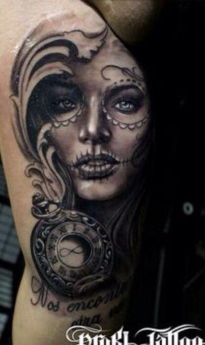 la catrina day of the dead tattoos skull girl tattoo. Black Bedroom Furniture Sets. Home Design Ideas