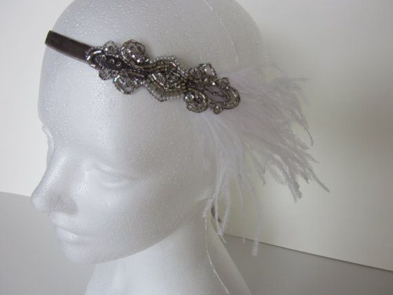 Champagne 20s Headband 1920s dress Headpiece Great Gatsby