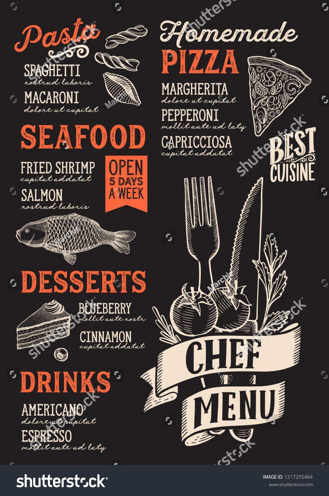 Chef Menu Template For Restaurant On A Blackboard Background Vector Illustration Brochure For Food Menu Design Layout Menu Design Inspiration Food Menu Design