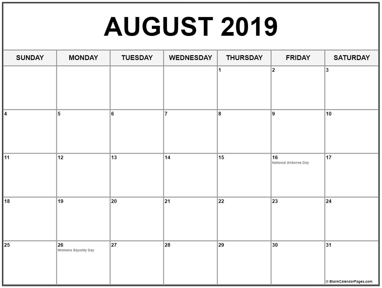 Blank August 2019 Calendar Printable Free Download Catch