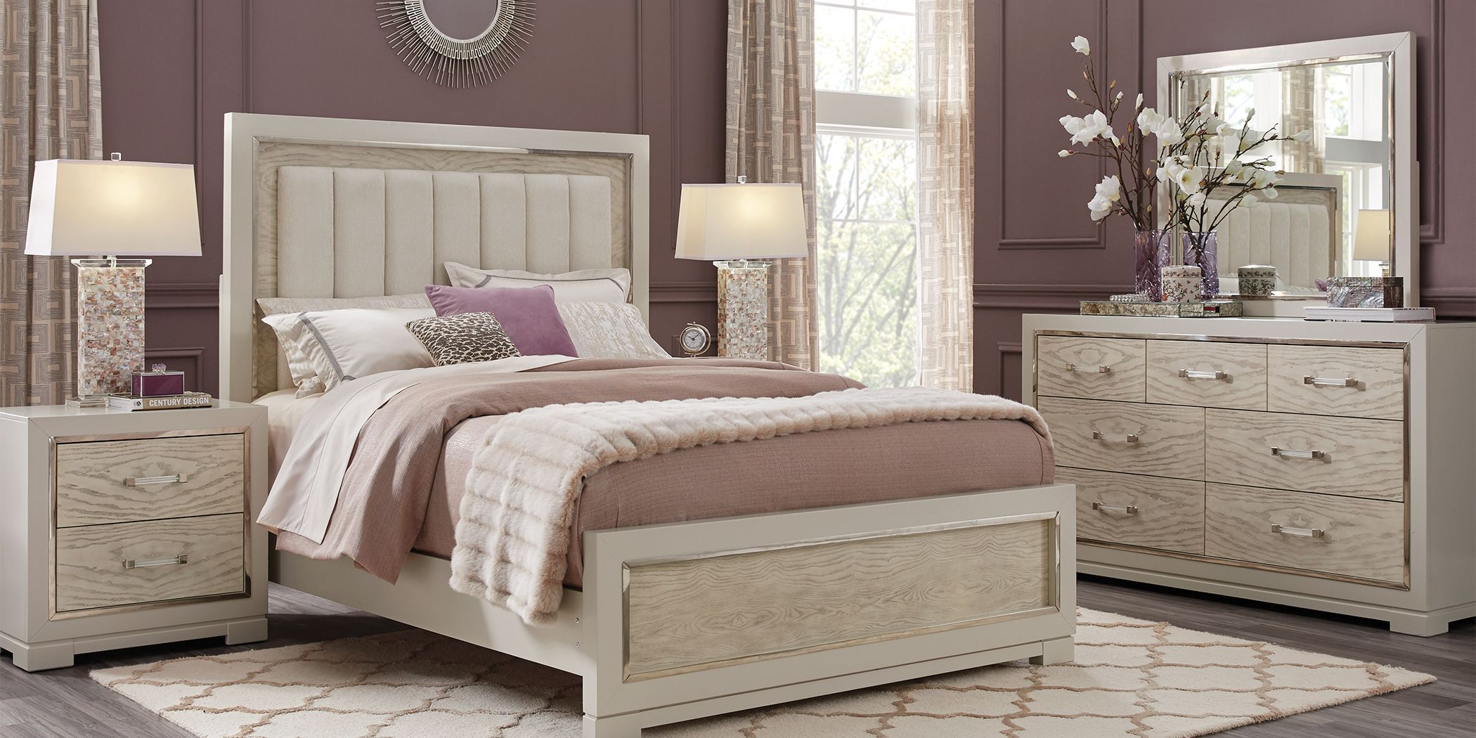 Cindy Crawford Home Bel Air Ivory 7 Pc Queen Panel Bedroom ...