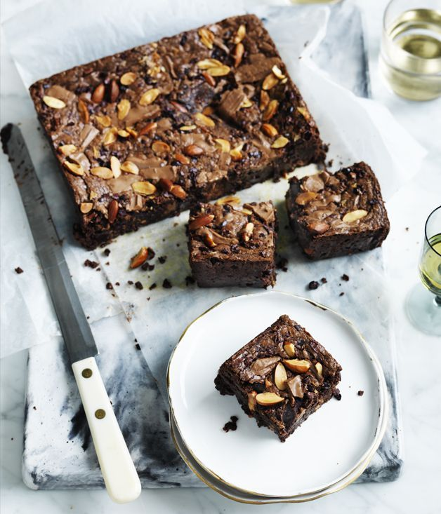 Recipe for Choc-malt and almond brownie | Gourmet Traveller