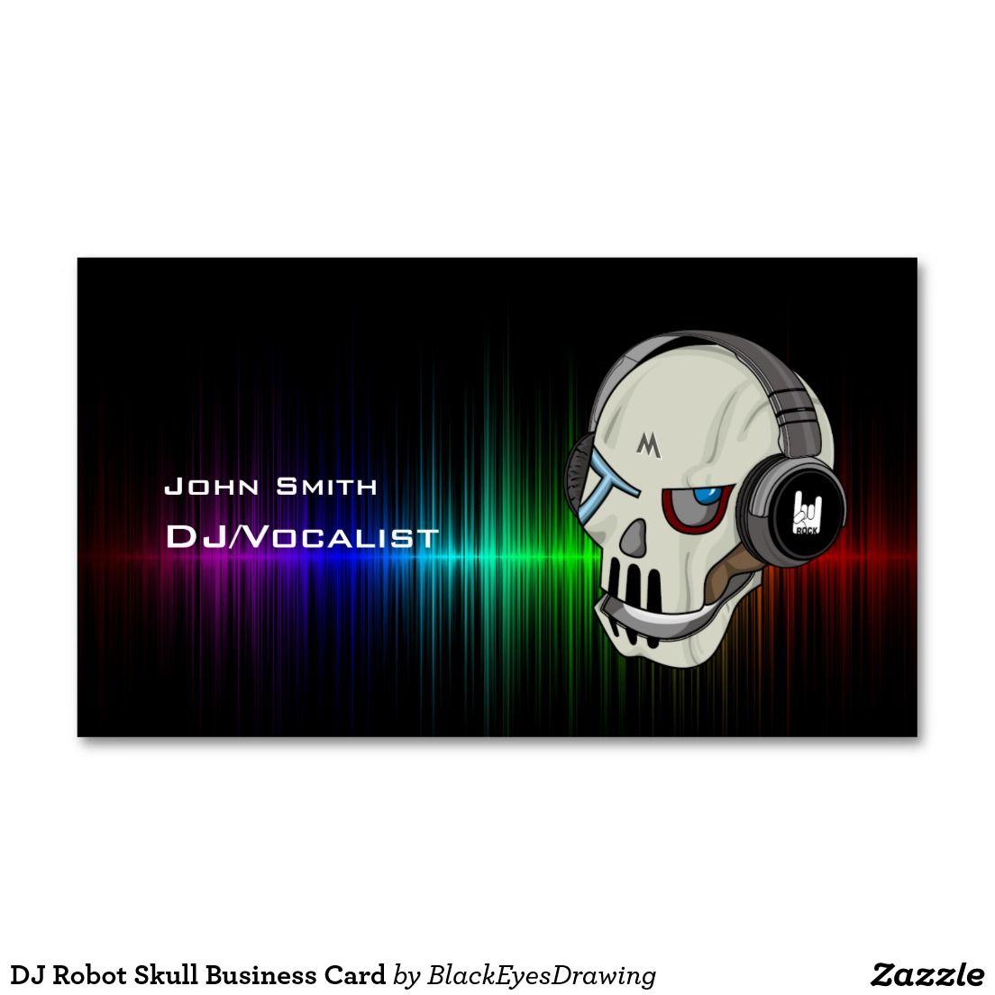 Color Wave Dj Robot Skull Business Card Business Cards Dj And Robot