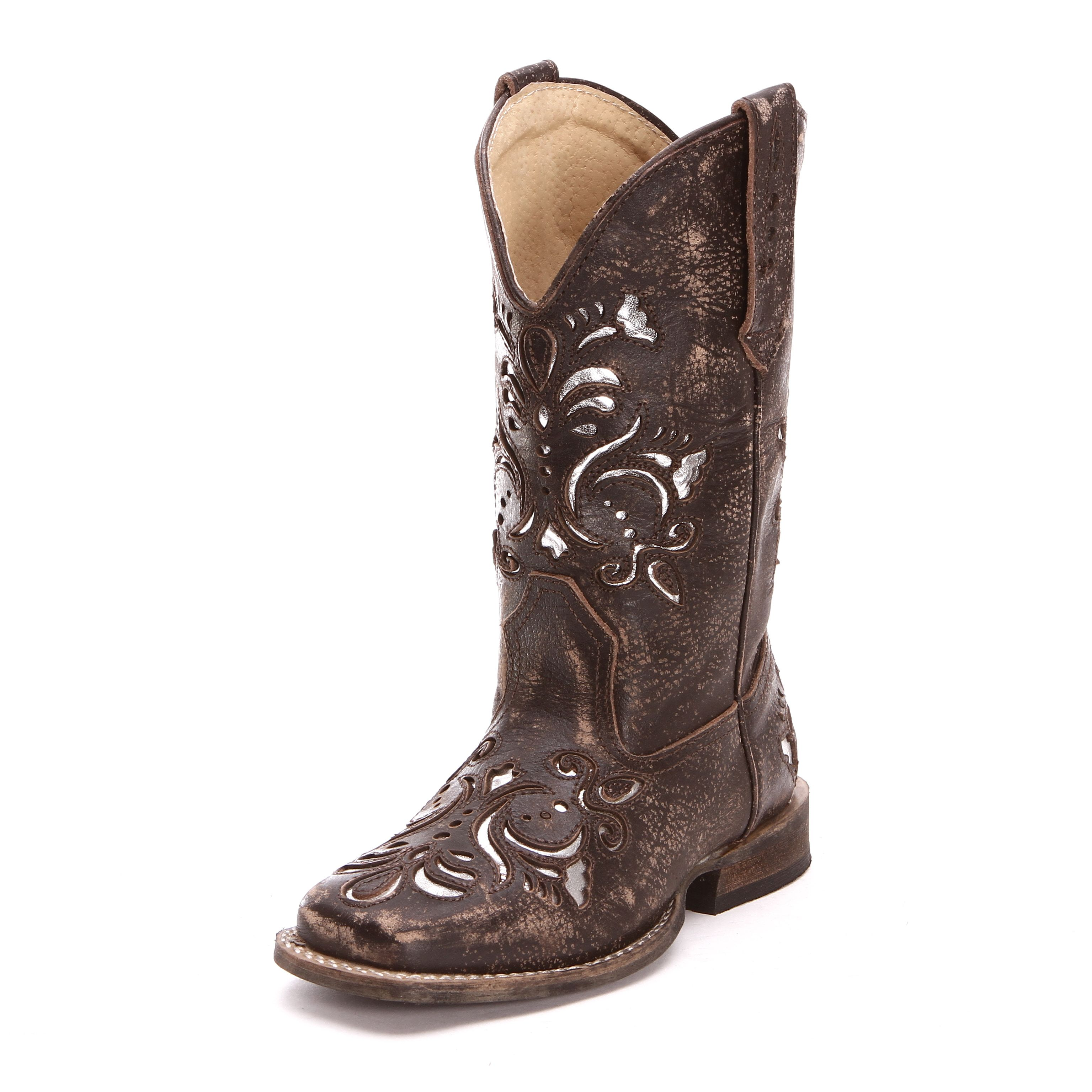 1528c998b7 Roper Childrens Girls Inlay Square Toe Cowboy Boots Brown | kids ...