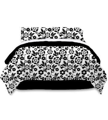 black and white floral bedding bring a stark contrast into your room the pure white background. Black Bedroom Furniture Sets. Home Design Ideas