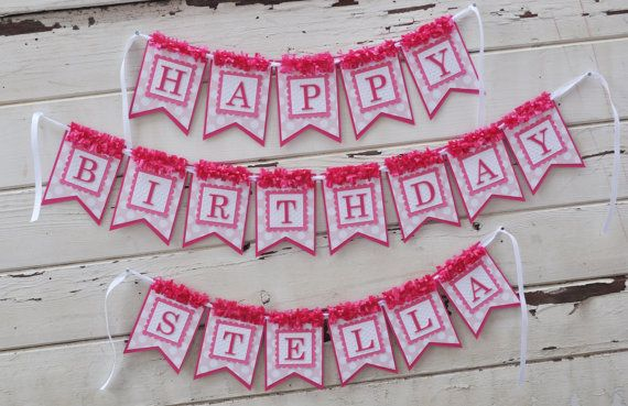 pretty in pink happy birthday banner with name girl 1st birthday