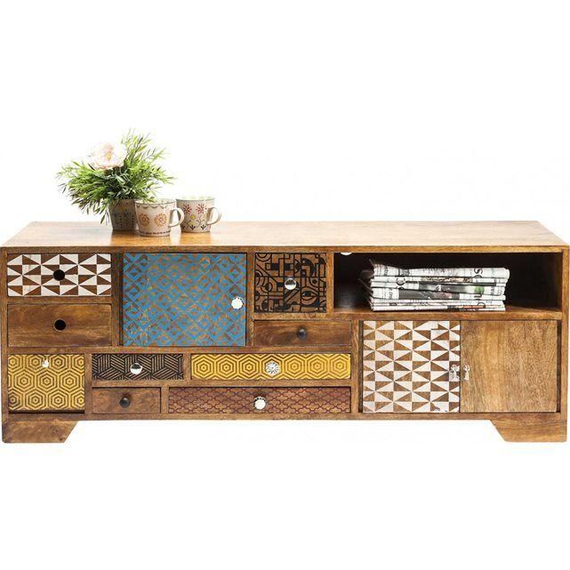 meuble tv en bois soleil 3 portes 9