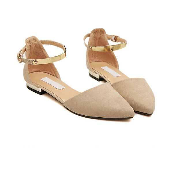 c4eacafa1f7a3 SheIn(sheinside) Apricot Point Toe Metallic Slingbacks Flats ( 29) ❤ liked  on Polyvore featuring shoes