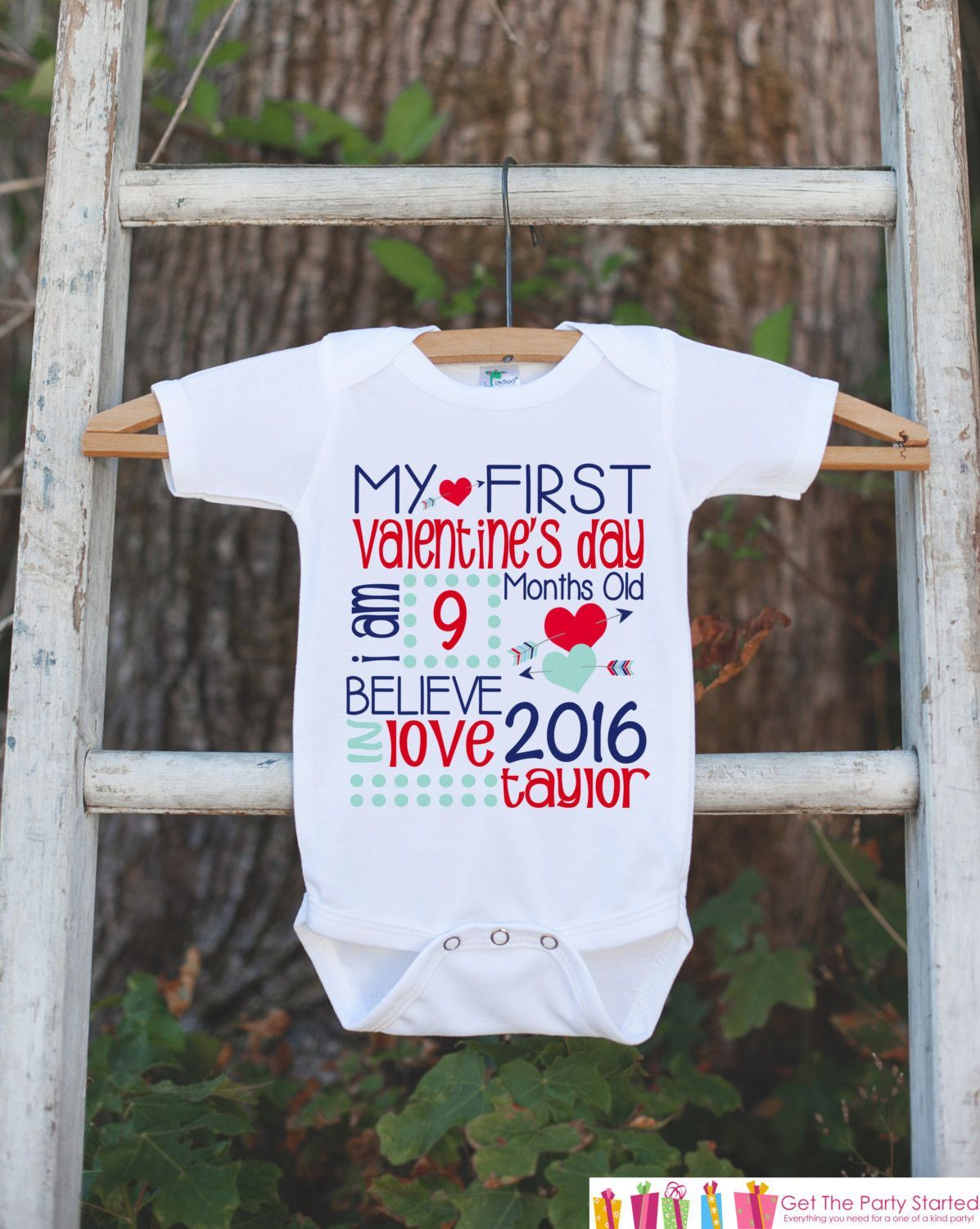 9b79dff52 First Valentine's Day Outfit - Personalized Valentine Onepiece - Baby's  First Holiday - Kids 1st Valentines Day Bodysuit for Baby Boys
