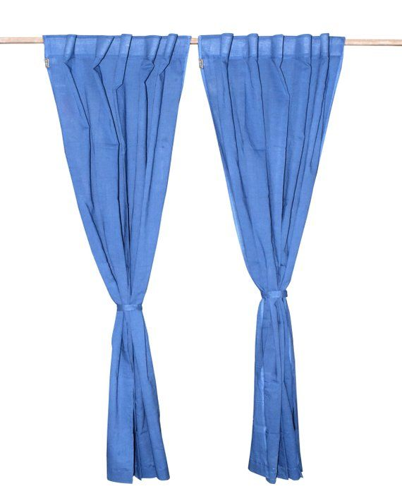 Cotton Curtains Boho Decor Beach Curtains Blue Color Curtains