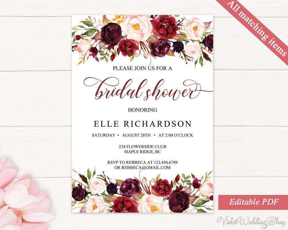 Marsala Burgundy Floral Bridal Shower Invitation Template Printable Bridal Shower Decor Bridal Shower Decorations 112