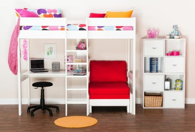 moderne einrichtung im kinderzimmer mit hochbett kinderzimmerideen pinterest kinderzimmer. Black Bedroom Furniture Sets. Home Design Ideas
