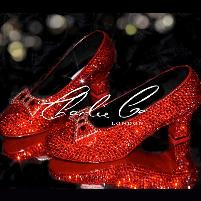 Crystal Ruby Slippers Replica Low Heel Wizard Of Oz Heels Bridal Wedding Prom Evening Sparkly Occasion Red Dorothy