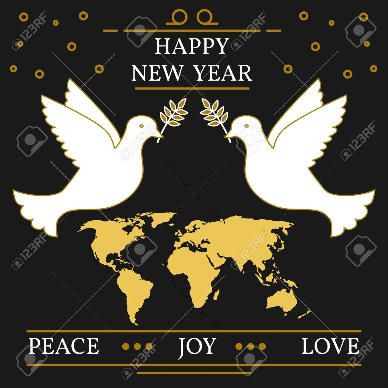 Happy new year, peace, joy and love greeting card. EPS10