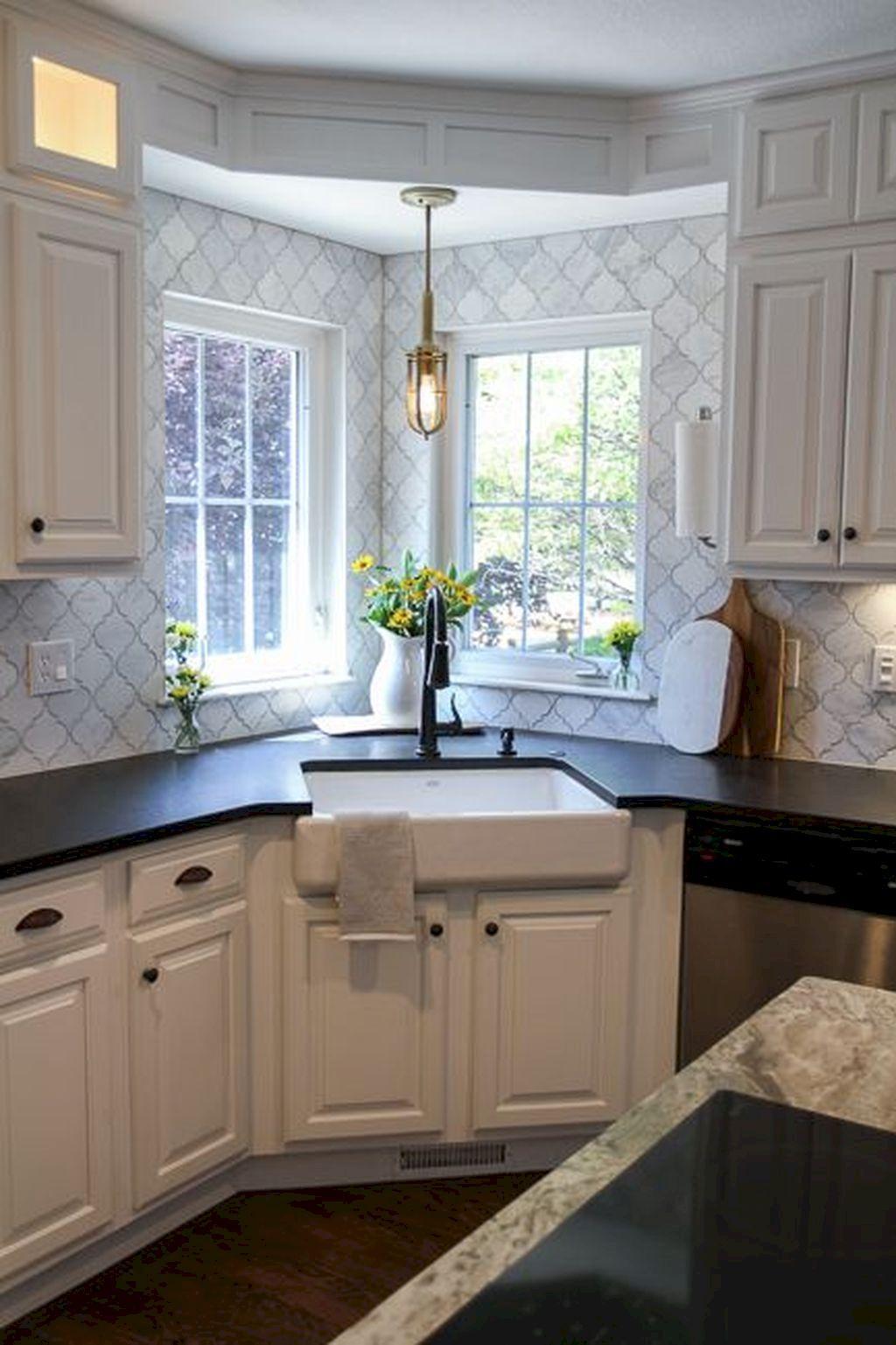 Corner window kitchen sink   beautiful white kitchen backsplash ideas  kitchen remodel