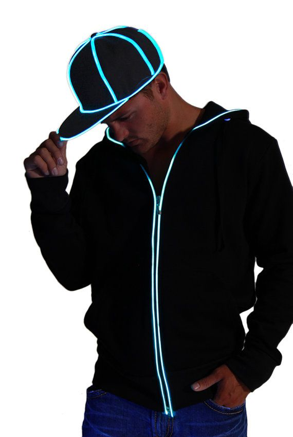 Lightup LED HOODIE Sweatshirt with ultra bright blue by NeonNancy ...