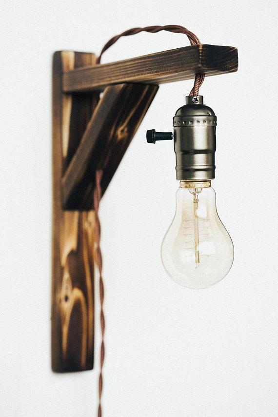 Wall Wooden Lamp Loft Style Lighting Industrial Wall Edison