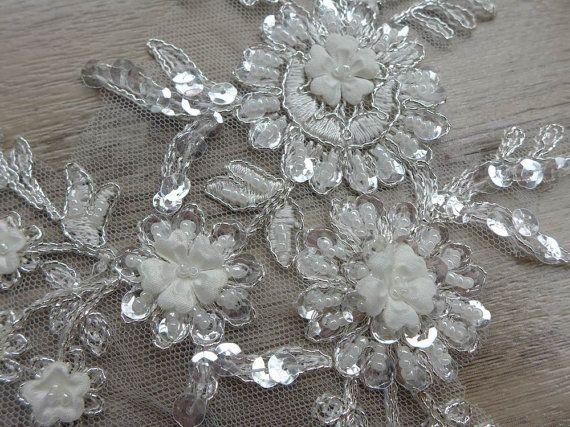 Off white bridal lace applique silver thread alencon lace applique