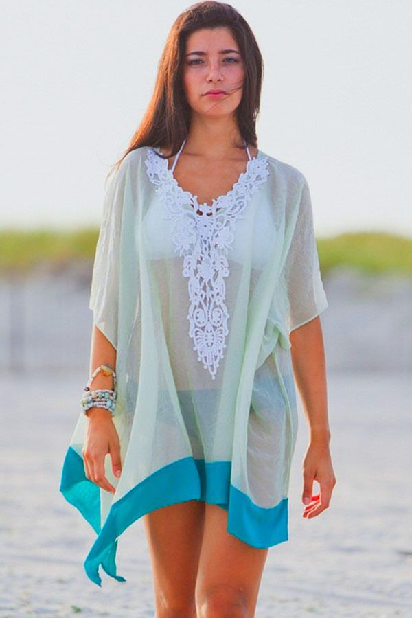 01fa9eb889 Sexy Womens Lace V Neck see through Beach Cover UP Top Blouse Green Trim  Dress