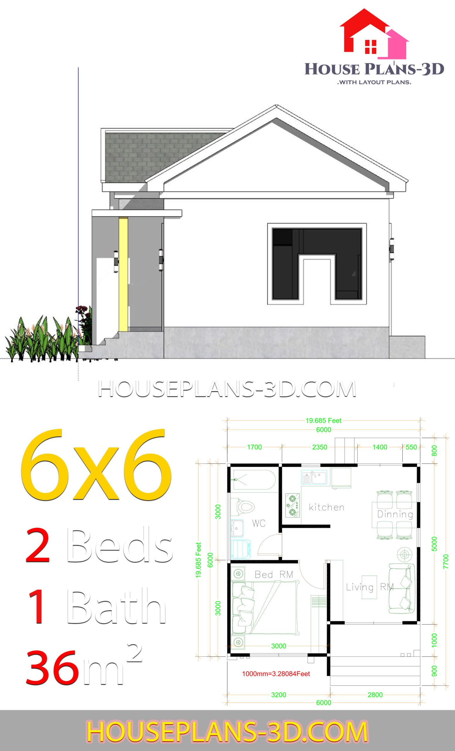 House Plans 6x6 With One Bedrooms Gable Roof House Plans 3d House Plans House Layout Plans House Roof