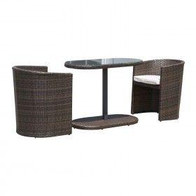 Conjunto 1 Mesa De Desayuno Y 2 Sillas De Ratan Mueble De