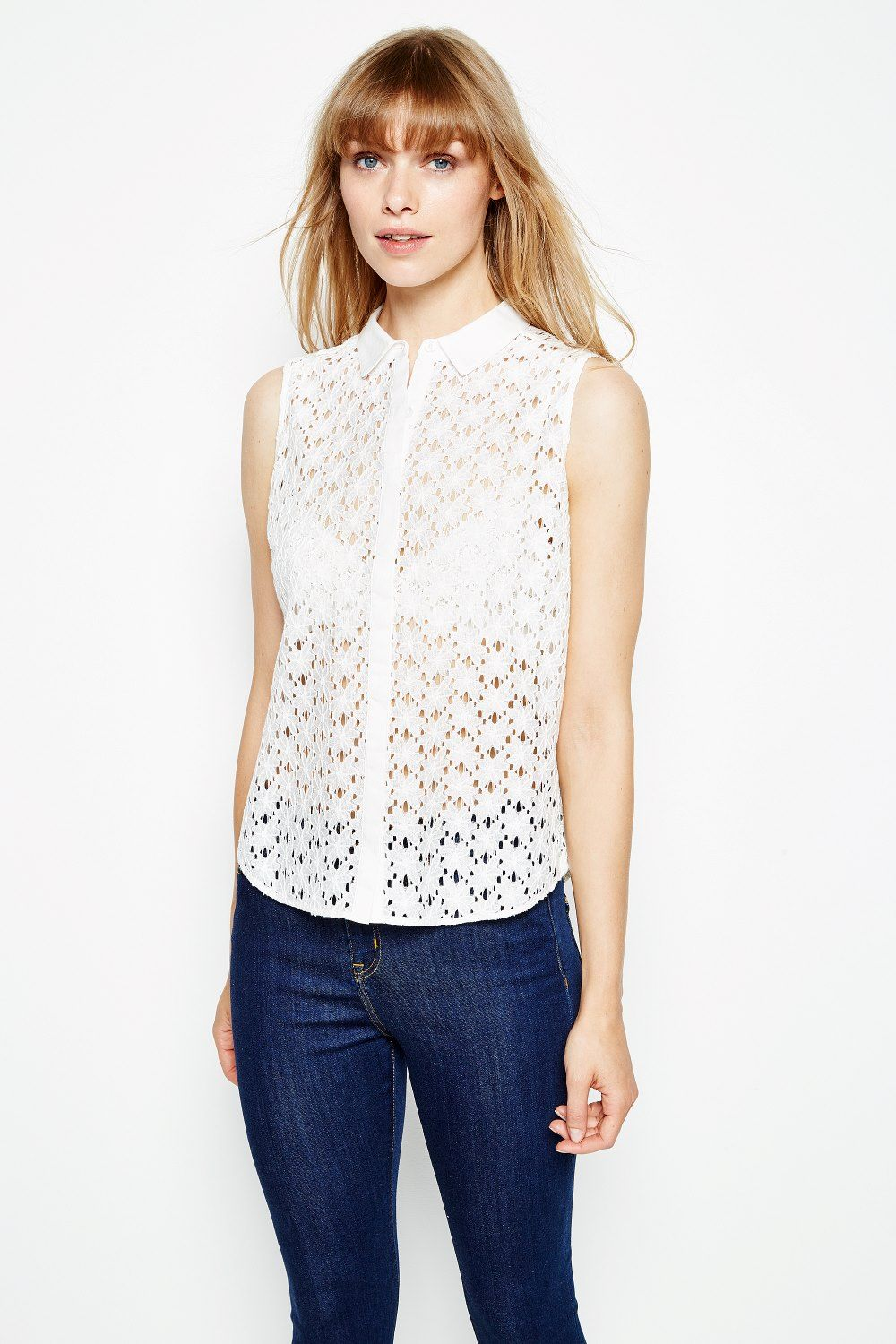 f6a6ab985da3 DECKLANT SLEEVELESS LACE SHIRT