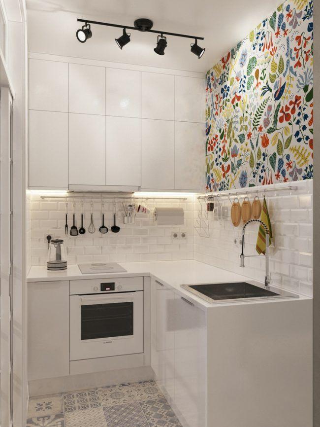 mini kueche design weiss hochglanz ofen wand bild bunt herd Wohnen - Küchen Weiß Hochglanz