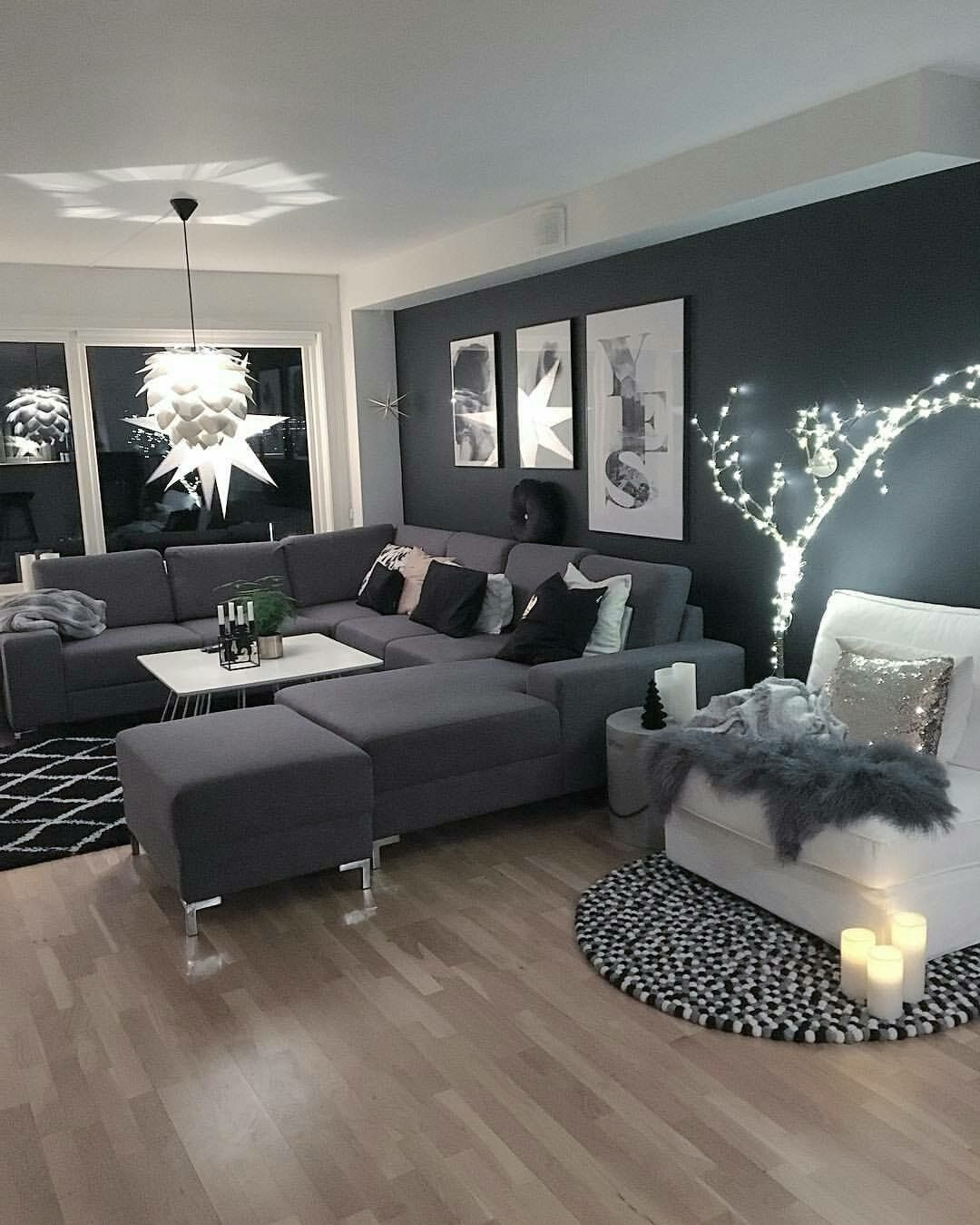 Pin By Xoxokash On Dream Dark Grey Living Room Black