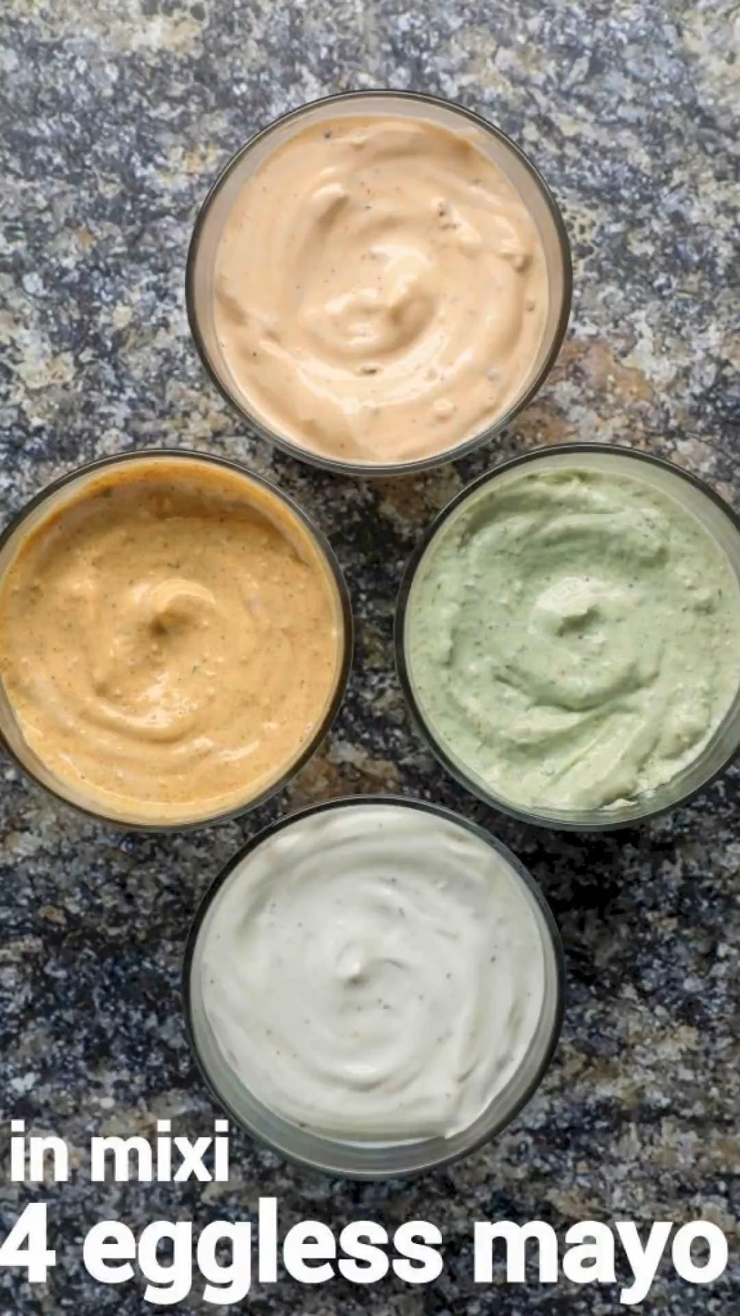 eggless mayonnaise recipe - 4 flavours | veg mayon