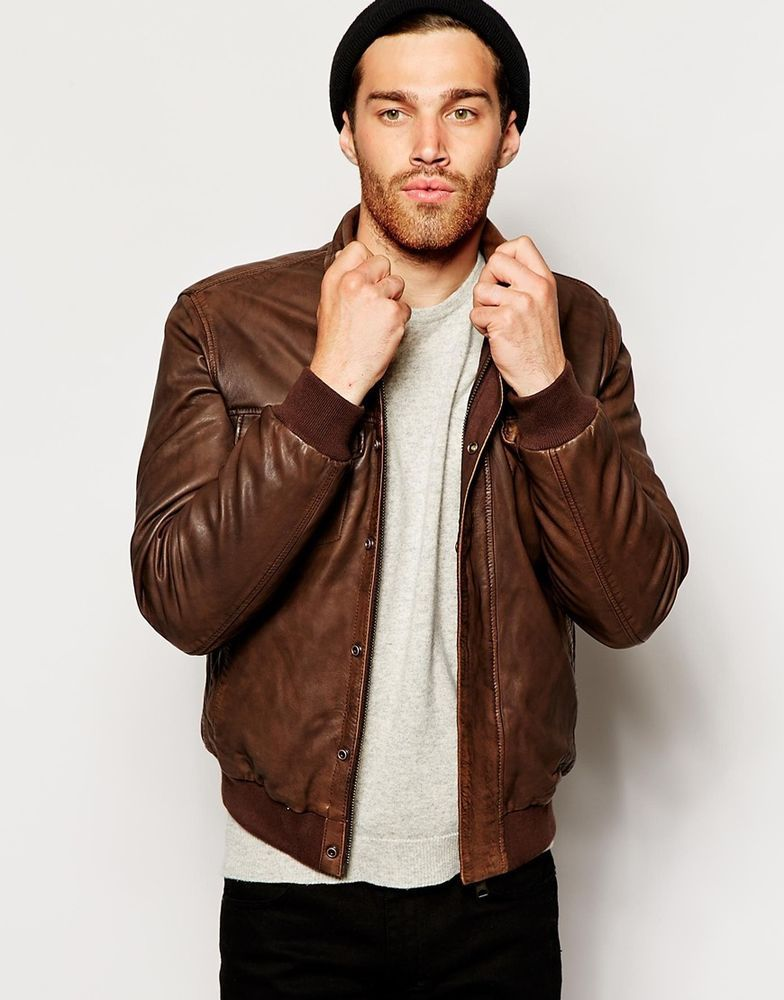 b49f16e01 United Colors Of Benetton Men s Leather Bomber Jacket Brown Size XL ...