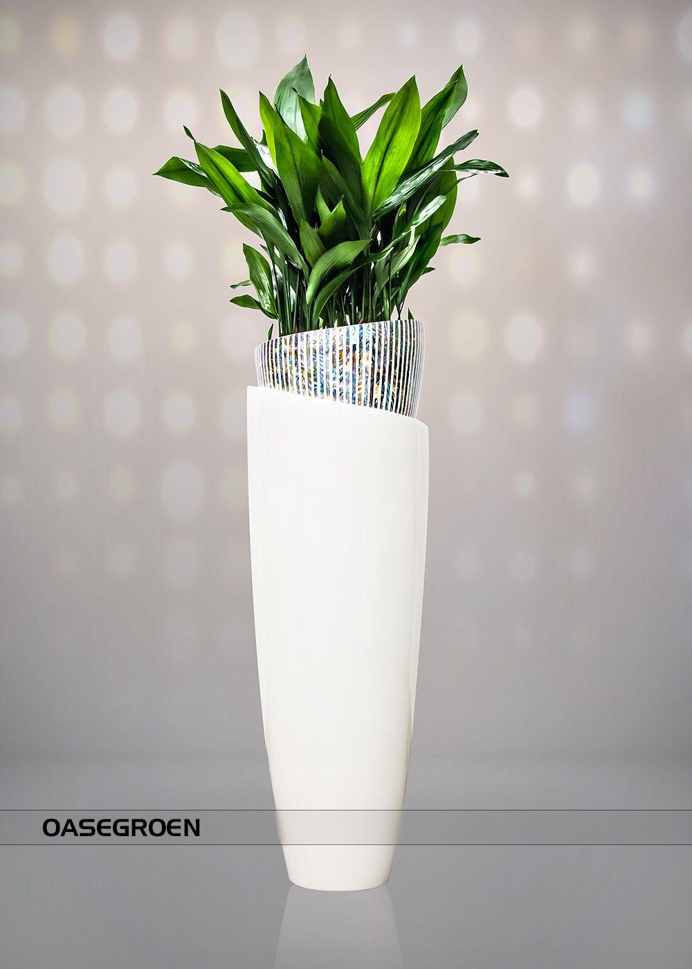 Polierte wei en vase mit intarsien aus perlmutt perle for Deko grunpflanzen