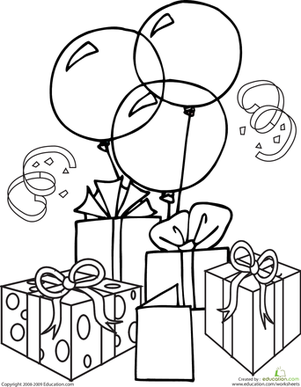 It's party time with this birthday coloring page, which features birthday balloons and gifts! Bring out your crayons and get the celebration started.