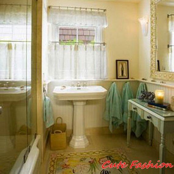 Beach Bathroom Window Curtains