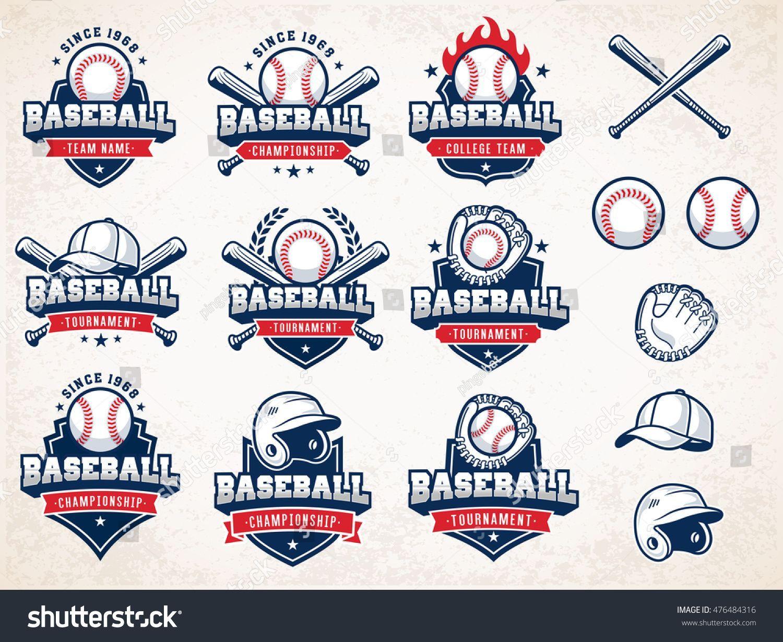 Collection Of Nine Colorful Vector Baseball Logo And Insignias Presented With A Set Of Baseball Equipment Illustrati In 2020 Baseball Baseball Posters Baseball Design