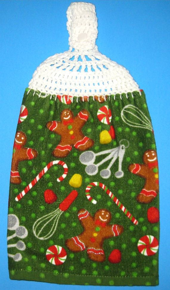 Hanging gingerbread double towel green Christmas by straycatfarm