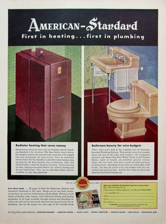 1950 American Standard Bathroom Ad 1950s Radiator