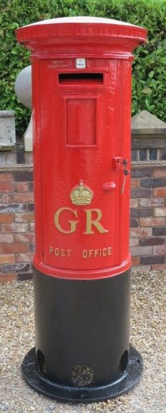 Original Red Royal Mail Gr 5th Cast Iron Pillar Box The Bottom Black Half Of Is What Buried Into Ground Which Always Surprises People