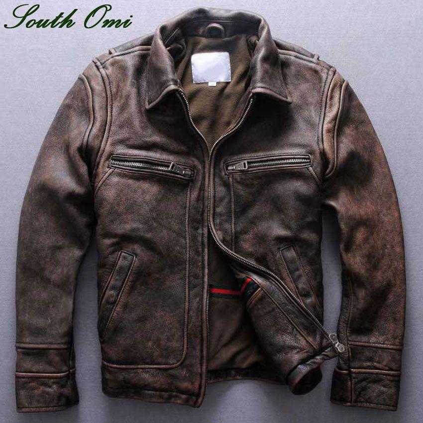 Men's Distressed Calfskin Leather Jacket Vintage Lapel Leather ...
