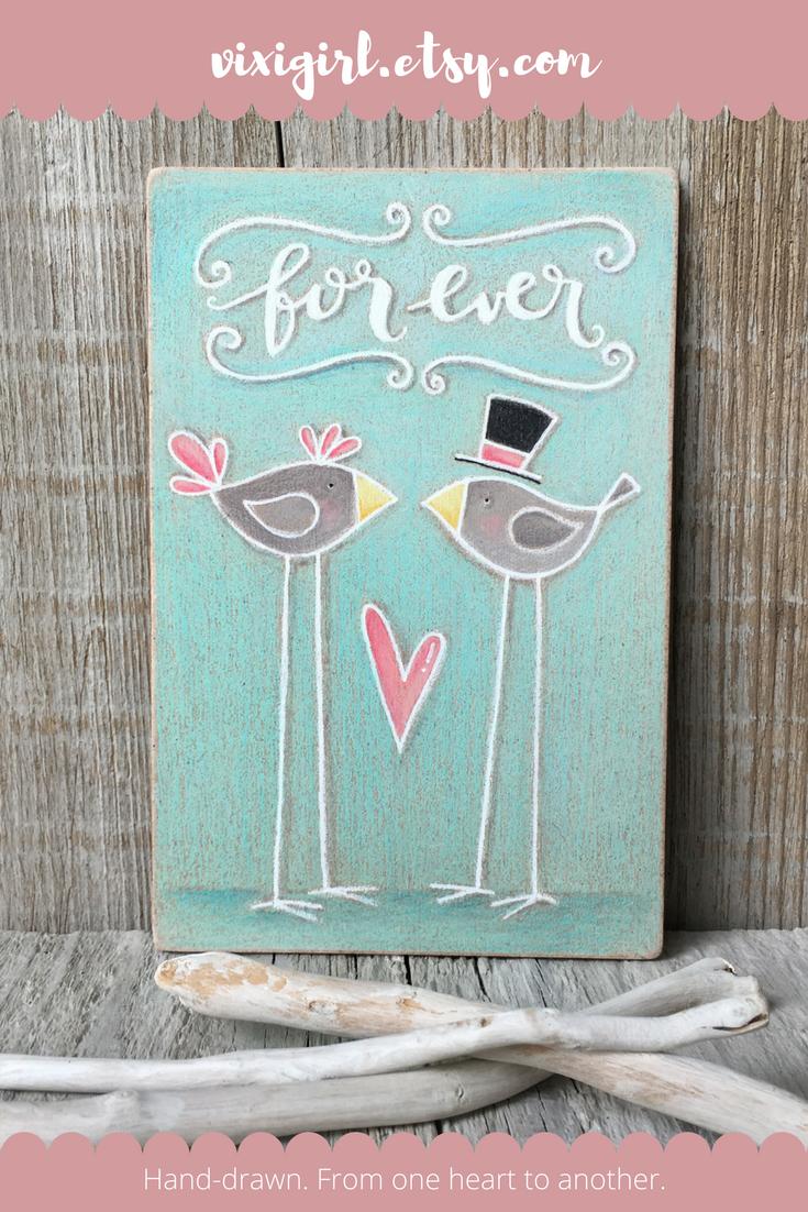 Forever Sign Bridal Shower Gift Rustic Home Decor Lovebirds