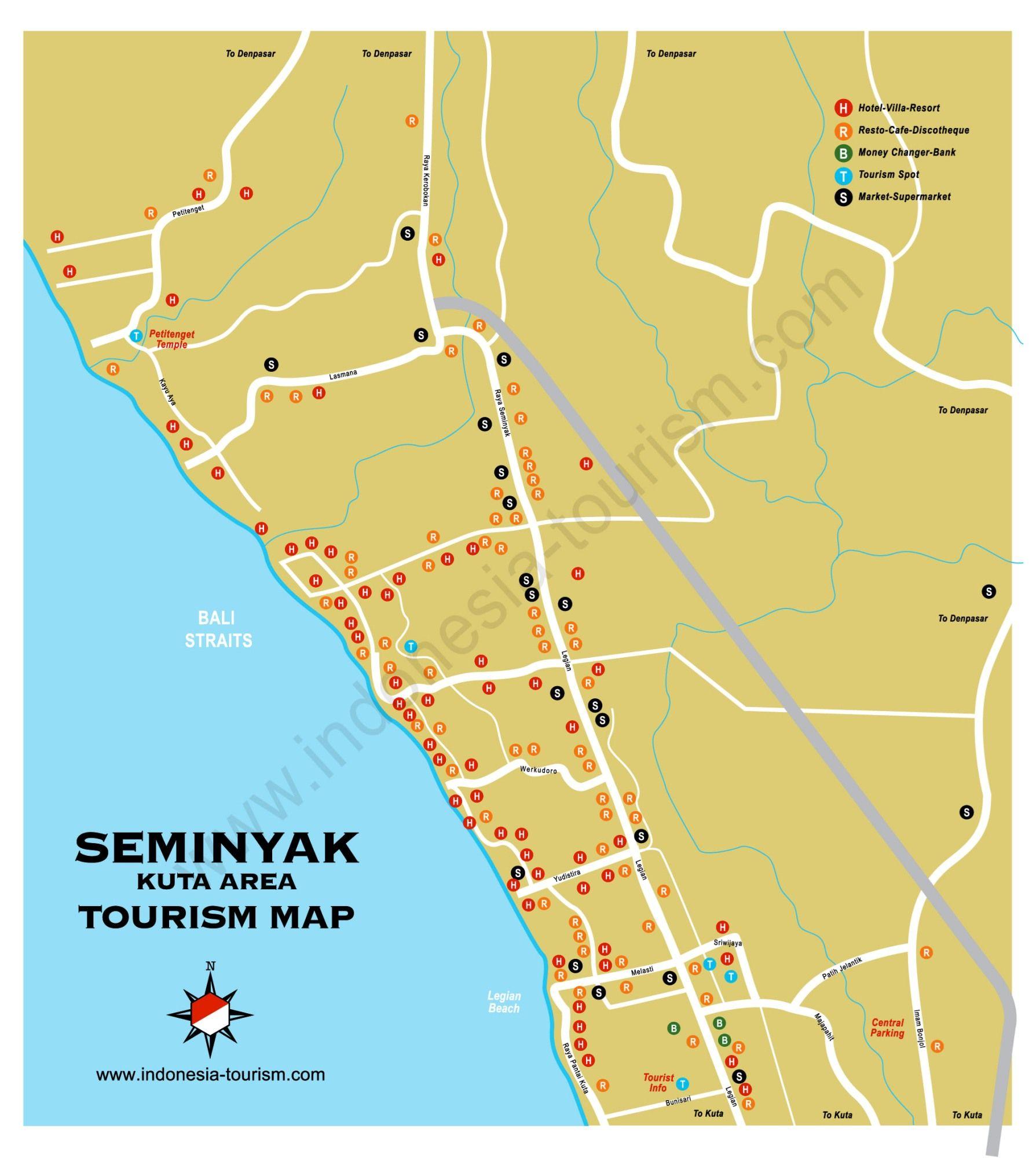 Carte Bali Benoa.Carte Bali Seminyak Indonesia Tourism Bali Bali Map