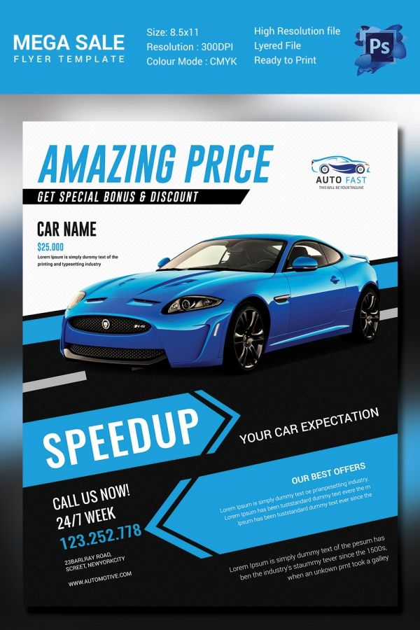 Mega Car Sale Flyer Template D E S I G N  MARKETING Pinterest
