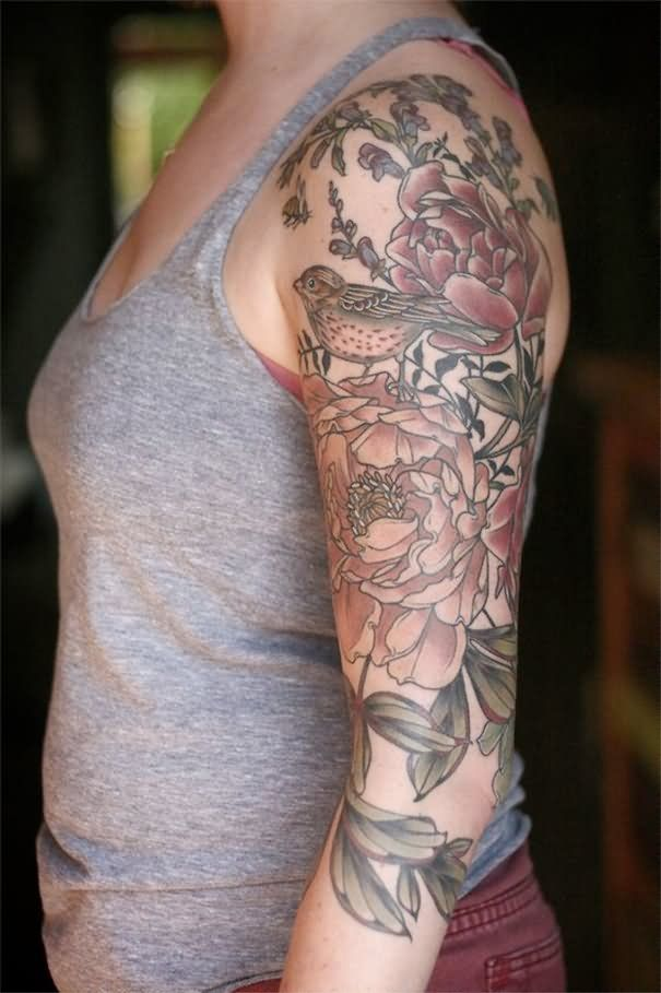 Nature-Flowers-With-Bird-Tattoo-On-Girl-Left-Half-Sleeve ...