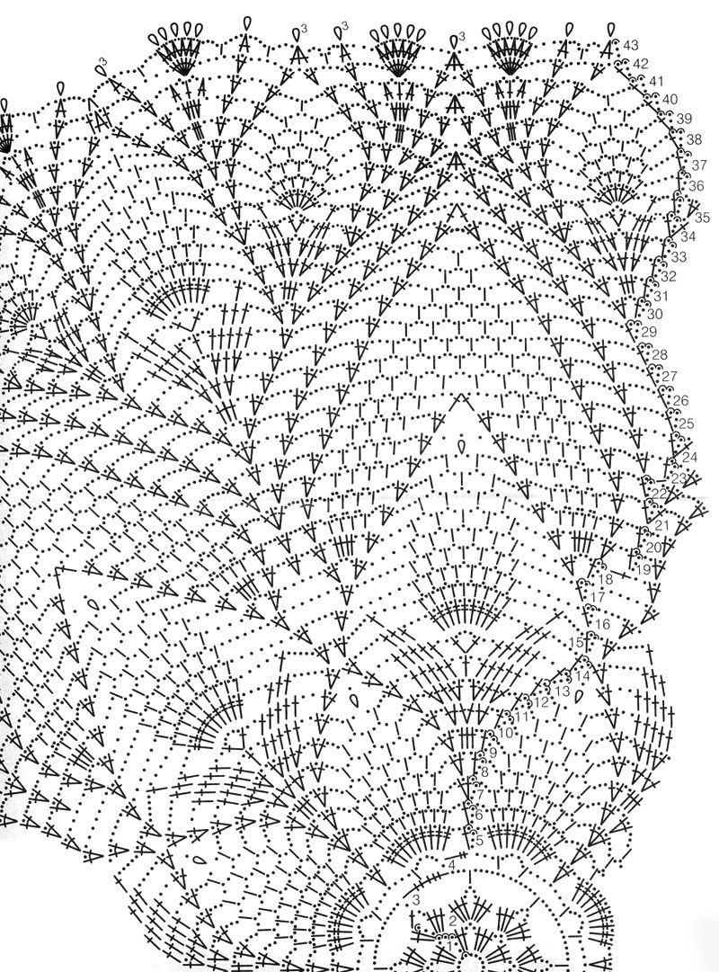 схема вязания салфеток крючком продолговатых