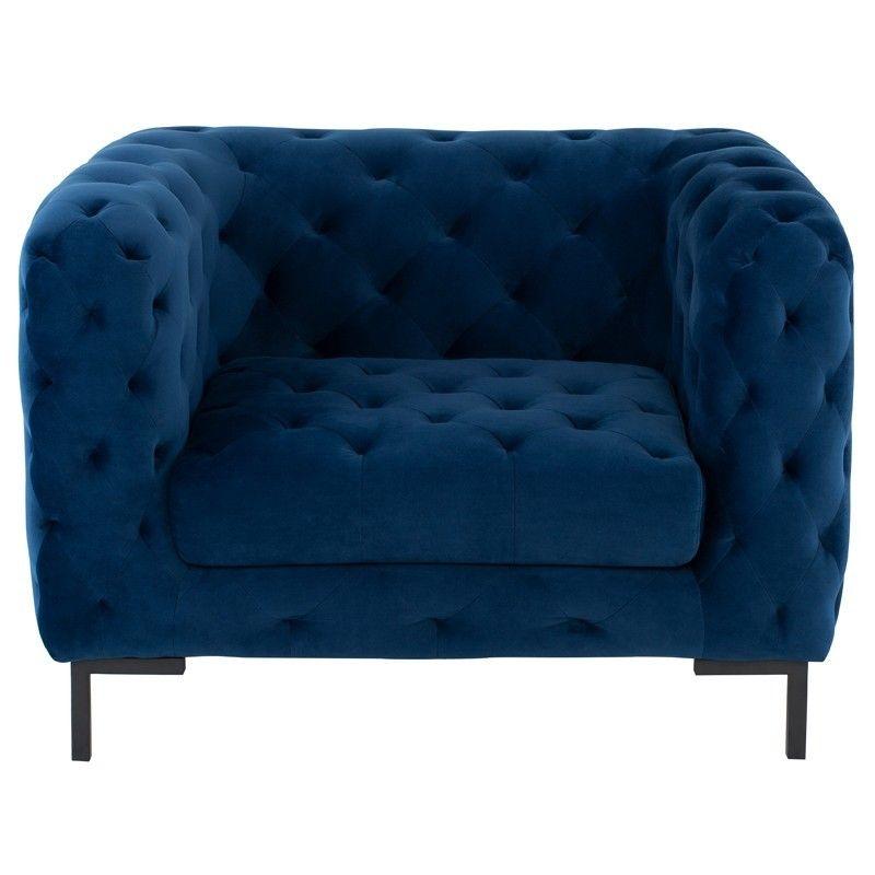 Best Tufty Navy Blue Velvet Upholstered Club Chair Club 400 x 300